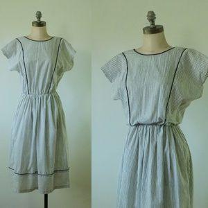 vintage black and white dress  1970s striped dress